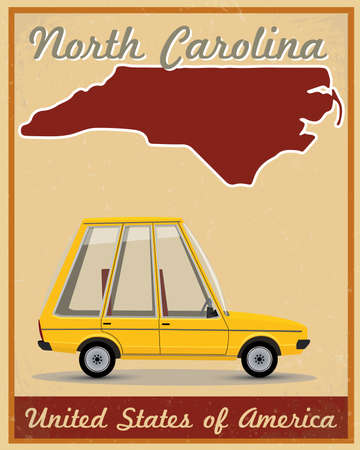 North Carolina road trip vintage poster Vector