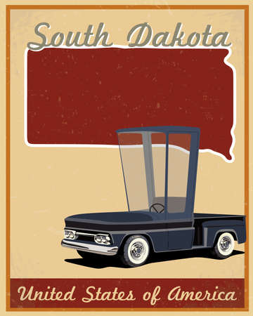 South Dakota road trip vintage poster  Vector