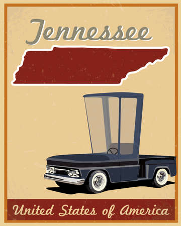 Tennessee road trip vintage poster  Vector