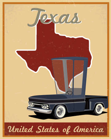 Texas road trip vintage poster  Vector
