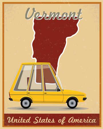 vermont road trip vintage poster