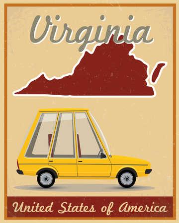 virginia: virginia road trip vintage poster