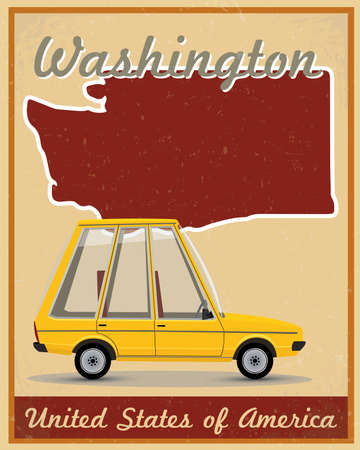 washington road trip vintage poster  Vector