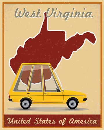 west virginia road trip vintage poster  Çizim