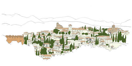 urban sketch of Granada, Spain  view from Heneralife  Vector