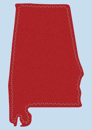 alabama: elegant leather map of Alabama state