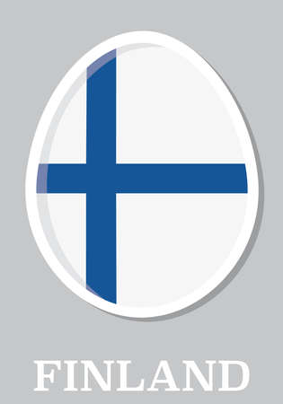 sticker flag of Finland in form of easter egg Vector
