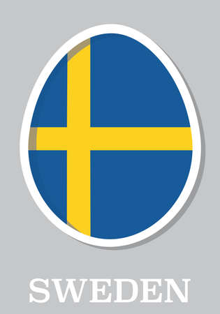 sticker flag of Sweden in form of easter egg Vector