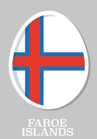 sticker flag of Faroe Island in form of easter egg Vector