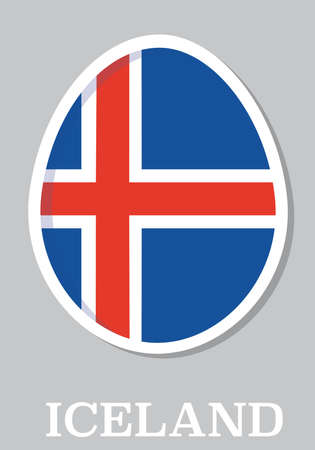sticker flag of Iceland in form of easter egg Vector