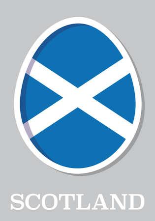 sticker flag of Scotland in form of easter egg Illustration