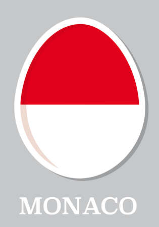 sticker flag of Monaco in form of easter egg Vector