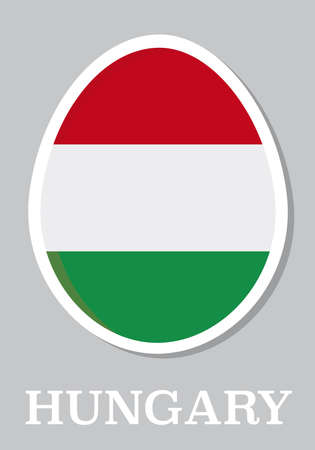 sticker flag of Hungary in form of easter egg Vector