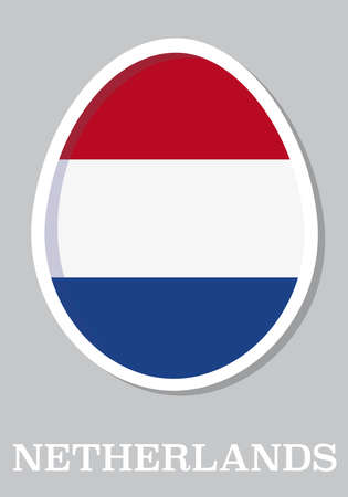 sticker flag of Netherlands in form of easter egg Vector