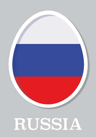 sticker flag of Russia in form of easter egg Vector