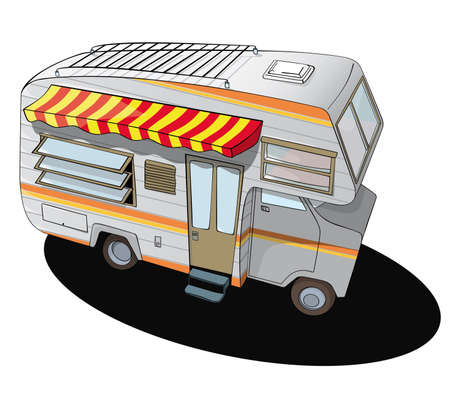 recreational vehicle: comic style camper van