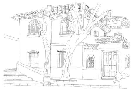 stedenbouwkundige schets - straat van Granada, Spanje