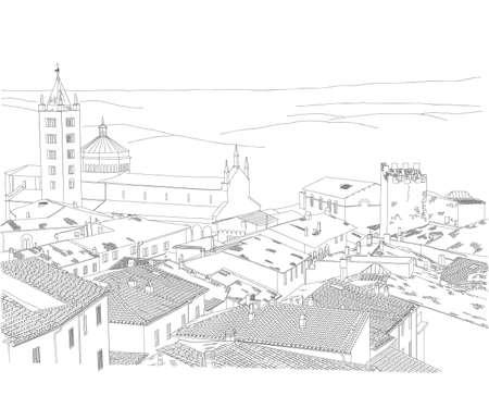 토스카나 마을의 도시 스케치