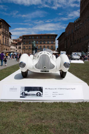 hometown: FLORENCE, ITALY - JUNE 15  limited edition vintage car Alfa Romeo 6C 1750 GS Zagato  1931  exposed at Firenze Hometown of Fashion Vintage Car Show, on June 15, 2014 in Florence, Tuscany, Italy Editorial