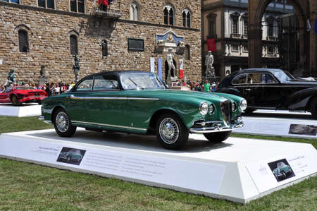 hometown:  FLORENCE, ITALY - JUNE 15  limited edition vintage car Lancia Aurelia B52 Vignale  exposed at Firenze Hometown of Fashion Vintage Car Show, on June 15, 2014 in Florence, Tuscany, Italy