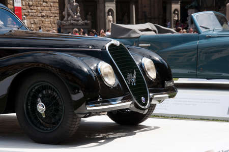hometown: FLORENCE, ITALY - JUNE 15  limited edition vintage car Alfa Romeo 6c 2500 Sport Touring  1939  exposed at Firenze Hometown of Fashion Vintage Car Show, on June 15, 2014 in Florence, Tuscany, Italy
