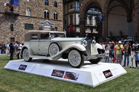 hometown: FLORENCE, ITALY - JUNE 15, 2014  limited edition vintage car Isotta 8a Castagna  1930  exposed at Firenze Hometown of Fashion Vintage Car Show, on June 15, 2014 in Florence, Italy