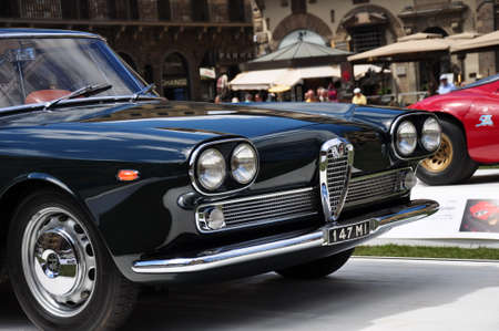hometown: FLORENCE, ITALY - JUNE 15, 2014  limited edition vintage car Alfa Romeo 2000 Praho Touring exposed at Firenze Hometown of Fashion Vintage Car Show, on June 15, 2014 in Florence, Italy Editorial