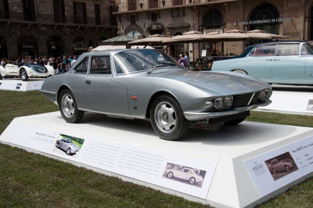 hometown: FLORENCE, ITALY - JUNE 15, 2014  limited edition vintage car Maserati Osca 1600 TC  1963  exposed at Firenze Hometown of Fashion Vintage Car Show, on June 15, 2014 in Florence, Italy Editorial