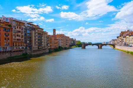trinita: Ponte Santa Trinita medieval Bridge in Florence Italy