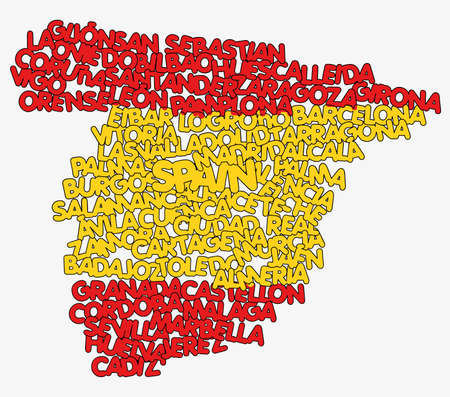 Spain map and words cloud with larger cities  Ilustração