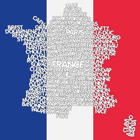 nice france: word cloud map of France Illustration
