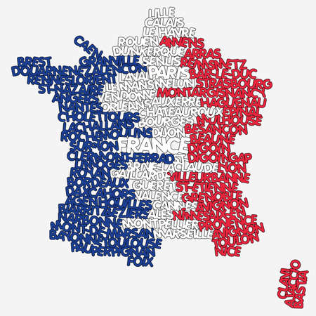 word cloud map of France Illusztráció