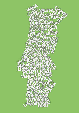 word cloud map of Portugal  Vector