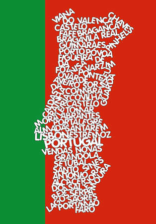 portugese: word cloud map of Portugal  Illustration