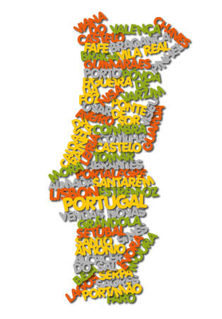 word cloud map of Portugal  photo
