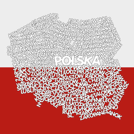 cracow: word cloud map of Poland Illustration