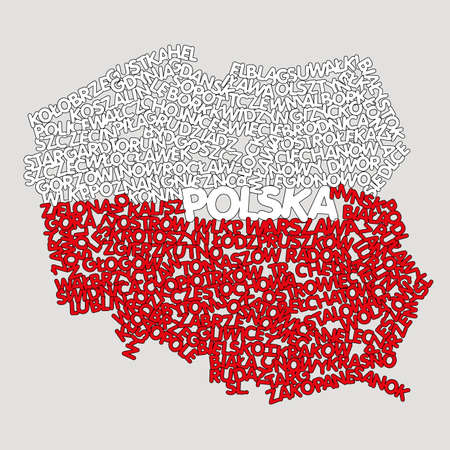 word cloud map of Poland Illustration