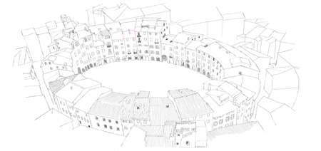 siena italy: Oval City Square in Lucca, Italy - urban sketch