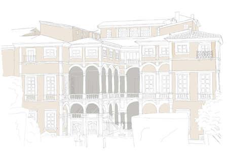 tuscan: italian villa in Lucca - urban sketch
