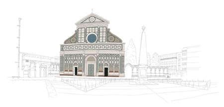 basilica: Basilica Santa Maria Novella in Florence, Italy - urban sketch