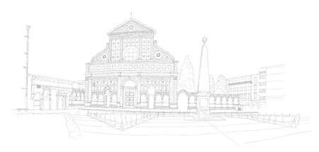 florence italy: Basilica di Santa Maria Novella a Firenze, Italia - schizzo urbano