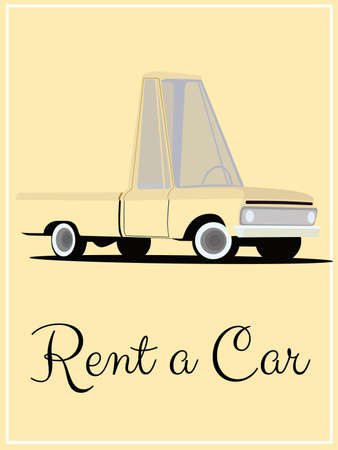 Old fashioned comics style rent a car poster Vector