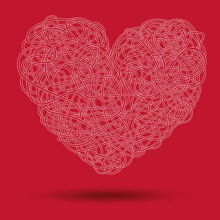 cable de red: Cable de red torcido en la forma del coraz�n Vectores