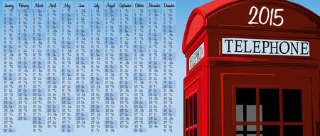 2015 calendar with british red phone booth Vector