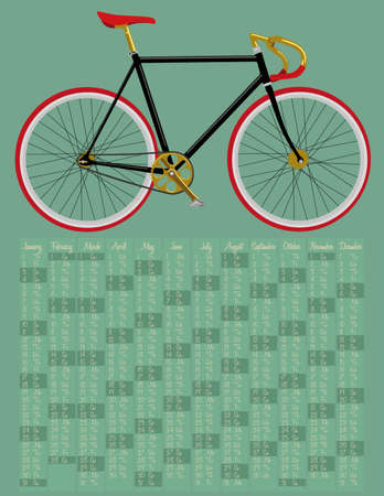 2015 calendar with fixed gear bicycle Vector