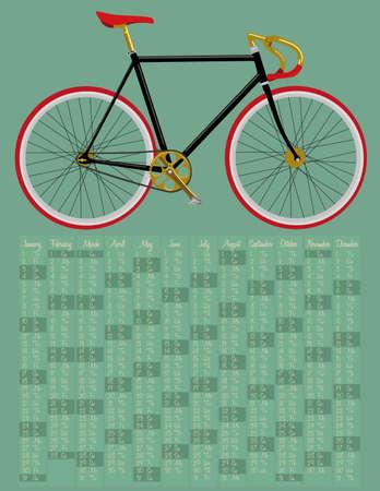 fixed: 2015 calendario con la bicicleta de artes fijos