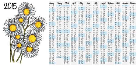 daisyflower: 2015 calendar with camomile flower Illustration