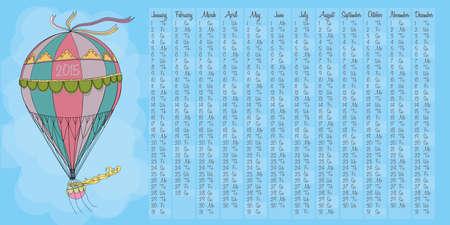 2015 calendar with vintage hot air balloon Vector