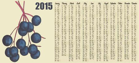 2015 calendar with Elderberry Vector