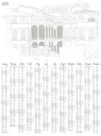 2015 calendar with an italian villa Vector